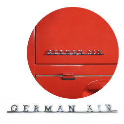 VW German Air Script Emblem Badge for Volkswagen Bug Beetle Bus Ghia Thing T3 T4 - Part Number: VPAE31