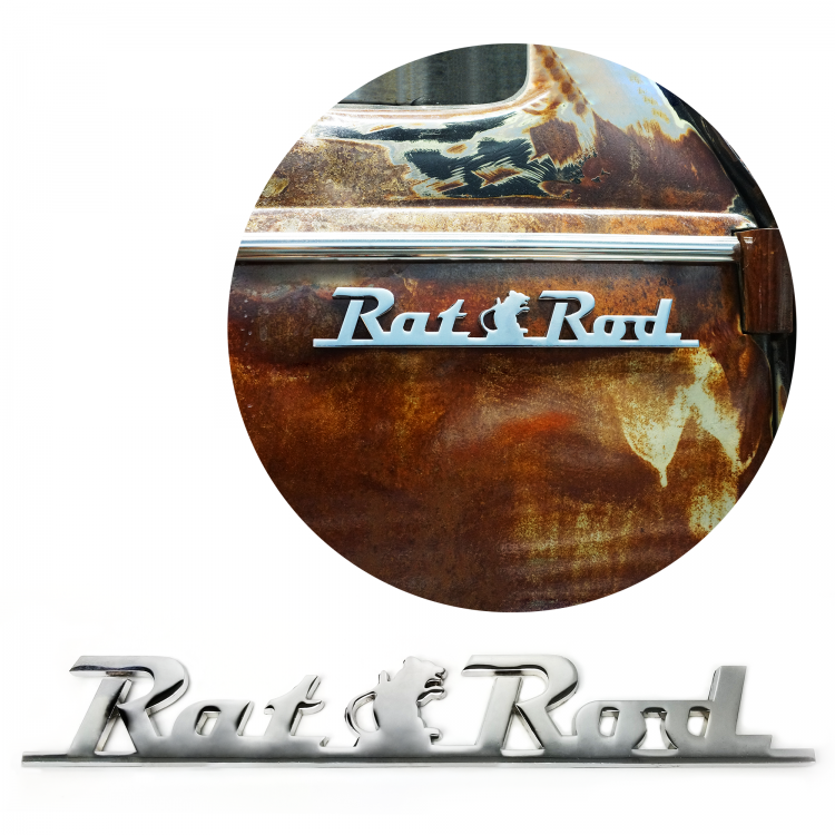 Chrome Rat Rod Script Emblem 3M Tape ideal for hot rods