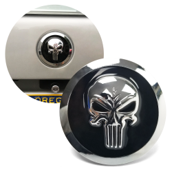 Chrome Punisher Skull Metal Badge Emblem for Car Truck Hot Rod or Custom - 82mm  - Part Number: VPAE37