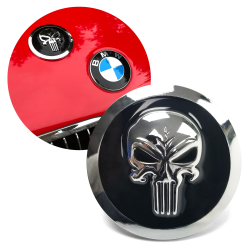 Chrome BMW Punisher Skull Metal Roundel Badge Emblem - 82mm for M3 M5 M6 Z3 E30 E34 E21 E60 E90 325i 528i 2002 Alpina and more. BMW (51-14-8-132-375) - Part Number: VPAE38