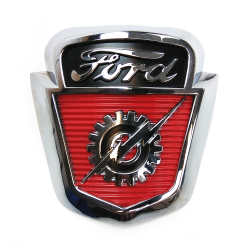 Classic Ford Gear and Lightning Bolt Shield Hood Ornament Emblem for 1953, 1954, 1955 and 1956 Ford F-100 Trucks - Part Number: VPAHC056