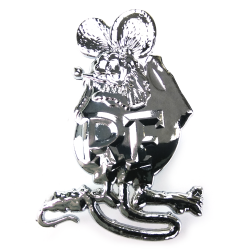 Chrome Rat Fink Metal Emblem Car Badge for Ford Chevrolet Hot Rod Truck Hot Rod Dodge Customs Muscle Cars Mancave VonDutch - Part Number: VPAE36