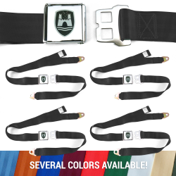 VW Volkswagen Wolfsburg Lap Seat Belts with Chrome Lift Buckle - 4 Belts - Part Number: 10794444