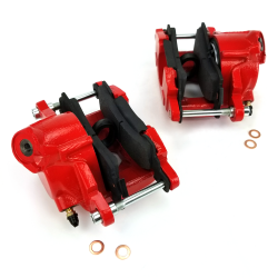 Red GM Large Bore Single Piston Brake Calipers (Pair) - Part Number: HEXBC4RD