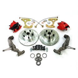 1958-1964 Chevy Full Size Big Brake Conversion 5x4.75 with Red Calipers - Part Number: HEX7AC03
