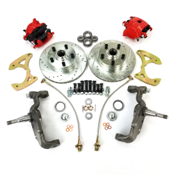 1965-1970 Chevy Full Size Big Brake Conversion 5x4.75 with Red Calipers - Part Number: HEX7AC04