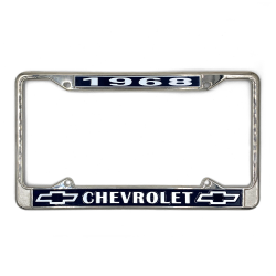 1968 Chevrolet Chrome Dealer License Plate Frame with Chevy Bowtie for Car Truck - Part Number: VPALFKA20