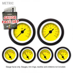 Gauge Face Set - Metric VX Yellow - Part Number: GARFM050