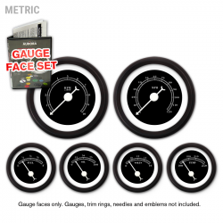 Gauge Face Set - Metric All American Black - Part Number: GARFM011