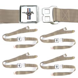 Ford Mustang GT Tan Lap Seat Belt Buckle fits Coupe Fastback Set of Four - Part Number: STBED525
