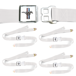 Ford Mustang GT White Lap Seat Belt Buckle fits Coupe Fastback Set of Four - Part Number: STBED526