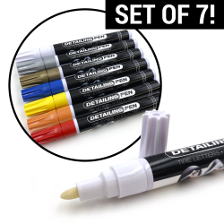 Long Lasting Interior Tire Paint Pen Permanent Water Proof Marker- Set of 7 - Part Number: VPAPENKIT