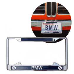 BMW Chrome Dealer License Plate Frame with BMW Roundel for Car Trucks - Part Number: VPALFED5B4