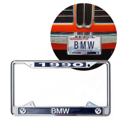 1990 BMW Chrome Dealer License Plate Frame with BMW Roundel for Car Truck - Part Number: VPALFED5BF