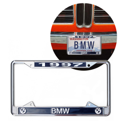 1997 BMW Chrome Dealer License Plate Frame with BMW Roundel for Car Truck - Part Number: VPALFED5C6