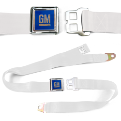 GM Mark of Excellence White Lap Seat Belt Chrome Buckle fits SS Hardtop V8 - Part Number: STBED6E8