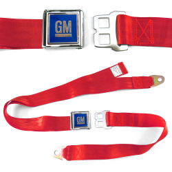 GM Mark of Excellence Red Lap Seat Belt Chrome Buckle fits SS Hardtop V8 - Part Number: STBED6E6