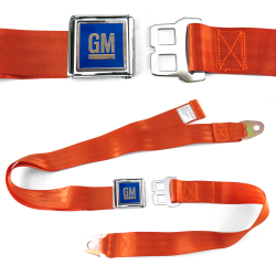 GM Mark of Excellence Orange Lap Seat Belt Chrome Buckle fits SS Hardtop V8 - Part Number: STBED6E4