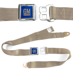 GM Mark of Excellence Tan Lap Seat Belt Chrome Buckle fits SS Hardtop V8 - Part Number: STBED6E7