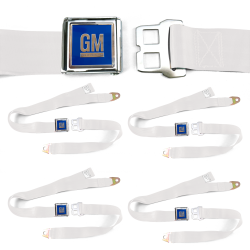 GM Mark of Excellence White Lap Seat Belt Buckle fits SS Hardtop V8 Set of Four - Part Number: STBED6FE