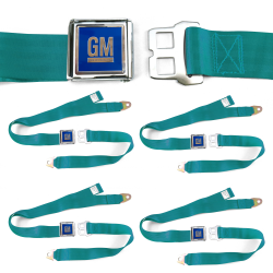 GM Mark of Excellence Aqua Lap Seat Belt Buckle fits SS Hardtop V8 Set of Four - Part Number: STBED6F5