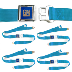 GM Mark of Excellence Electric Blue Lap Seat Belt fits Bug Bus Set of Four - Part Number: STBED6F7