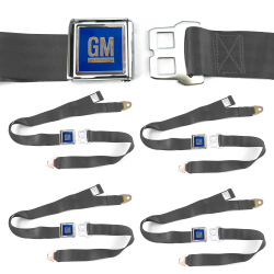 GM Mark of Excellence Charcoal Lap Seat Belt Buckle fits Bug Ghia Set of Four - Part Number: STBED6F8