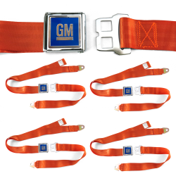 GM Mark of Excellence Orange Lap Seat Belt Buckle fits Bug Bus  Set of Four - Part Number: STBED6FA