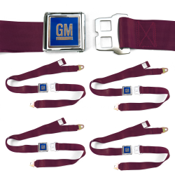 GM Mark of Excellence Burgundy Lap Seat Belt fits SS Hardtop V8 Set of Four - Part Number: STBED6F6