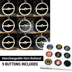 Small Horn Button 9 Pc Set for VW Steering Wheel Keychain - 4mm Aircooled