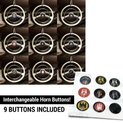 Large Horn Button 9 Pc Set for VW Steering Wheel Keychain - 6mm - aircooled - Part Number: LABKCHBSP2