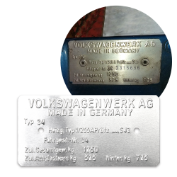 Volkswagen Karmann Ghia Razor Type 34 Made in Germany Vin Data Information Plate - Part Number: LABVIN13