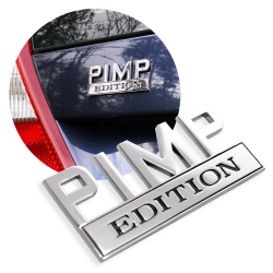 "The Original ""PIMP"" Edition Tailgate Door Fender Emblem for Cars Trucks Vans - Part Number: AUTFGE13"
