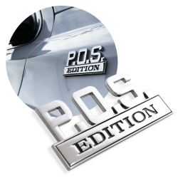 "The Original ""P.O.S."" Edition Tailgate Door Fender Emblem for Cars Trucks Vans - Part Number: AUTFGE14"