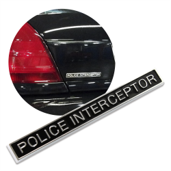 "Black ""Police Interceptor"" Badge Emblem Decal for Ford Crown Vic Victoria - Each - Part Number: OEPE067"