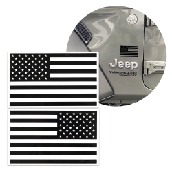 2x Black Tactical American Military Flag Decal USA 5x3 in fits Jeep 4X4 Diesel - Part Number: VPASTKR014