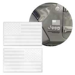 2x White Tactical American Military Flag Decal USA 5x3 in fits Jeep 4X4 Diesel - Part Number: VPASTKR015
