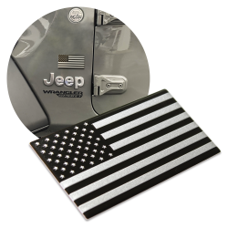3D METAL Black / Silver American Flag Sticker Decal Emblem for Cars & Trucks  - Part Number: VPAE68