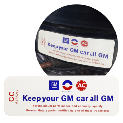 "GM Chevrolet ""Keep your GM car all GM"" Air Cleaner Cover Decal 250 155 DC0052 - Part Number: VPASTKR013"